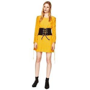 ZARA Trafaluc Yellow Ruffle Sleeve Mini Dress